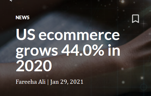 US ecommerce grows 44% in 2020<br />Online spending was $861 billion: 21% of total retail sales